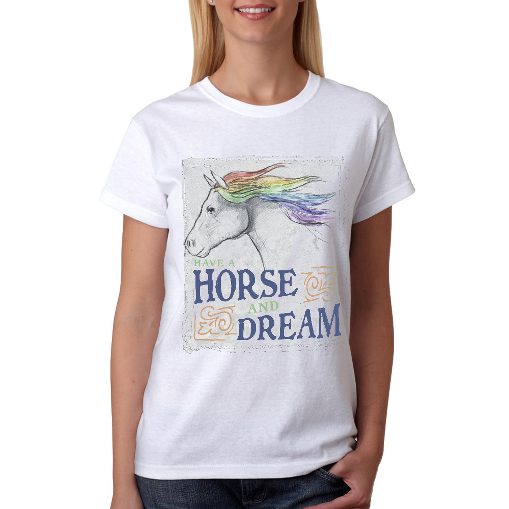 Camiseta Made in Lida Feminina Have a Horse and Dream Branca