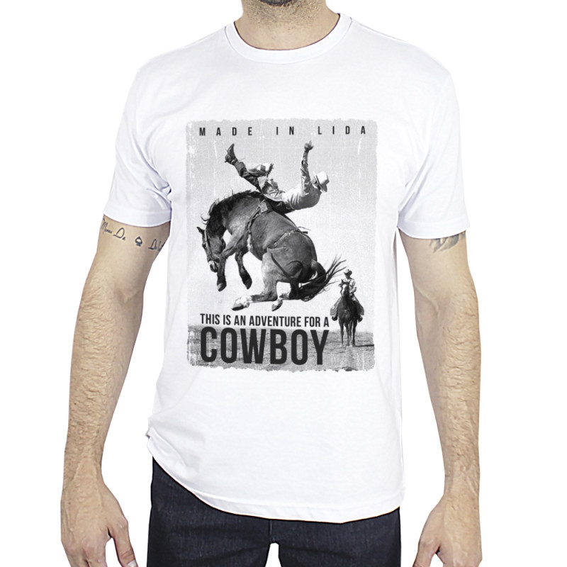 Camiseta Made in Lida Masculina Adventure for a Cowboy Branca