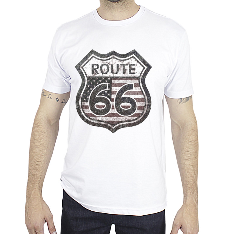 Camiseta Made in Lida Masculina Route 66 Branca