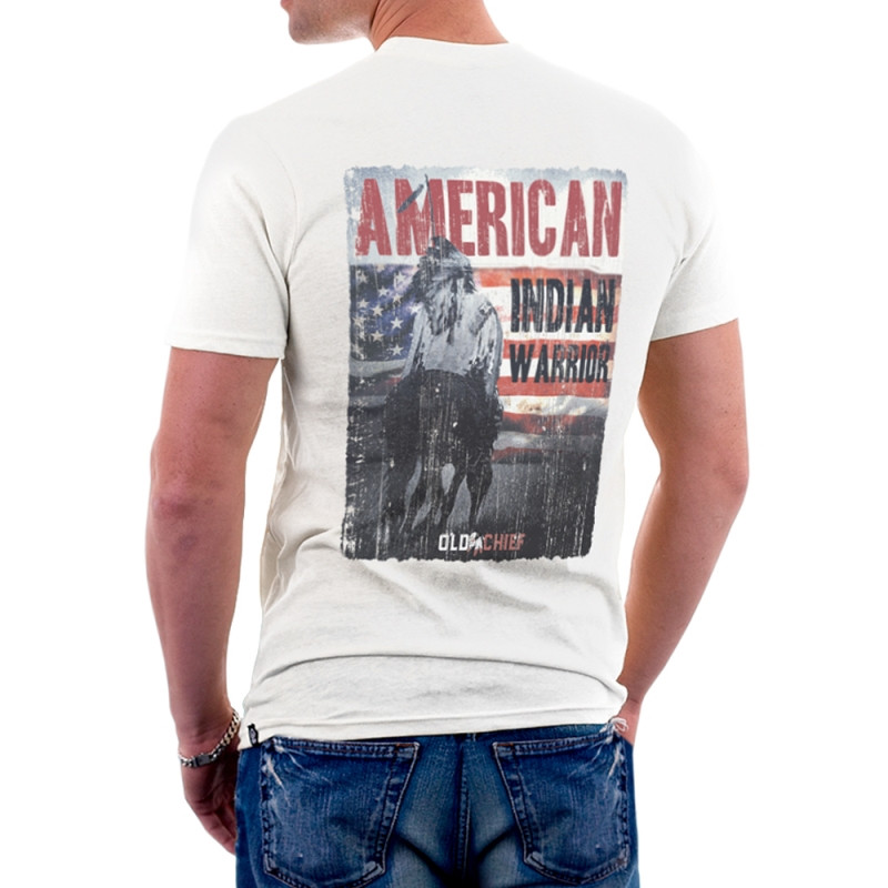 Camiseta Old Chief Masculina American Indian Back Branca
