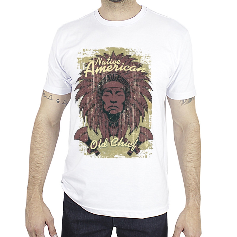 Camiseta Old Chief Masculina Native American Branca